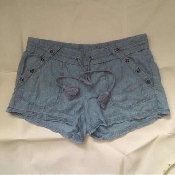 Rewind Pants - Linen rayon chambray short shorts